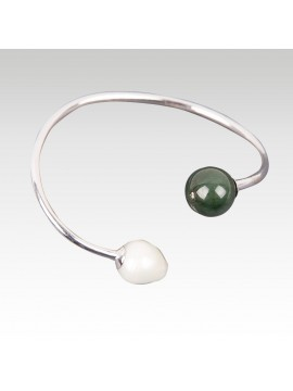 Silver Bangle Green Jade And White Pearls