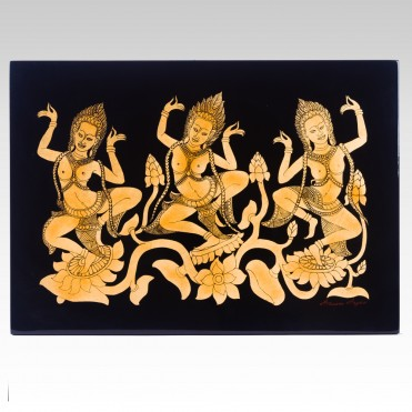 THREE APSARAS ON LOTUS
